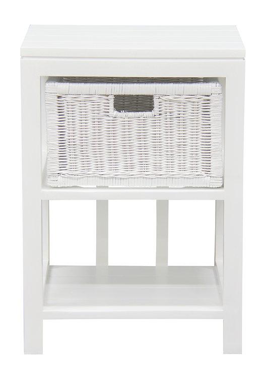 1 Drawer Rattan Lamp Table (White)