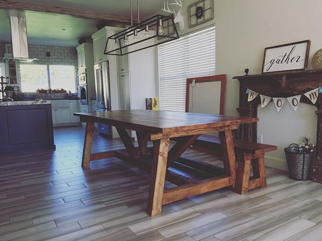 Truss Farmhouse Table & Bench delivered today 😍 #farmhousetable #farmtable #farmhouselove #farmhous