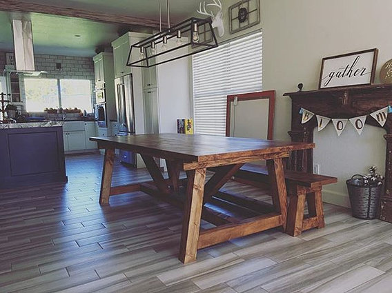 Truss Farmhouse Table U0026 Bench Delivered Today    #farmhousetable #farmtable  #farmhouselove ...