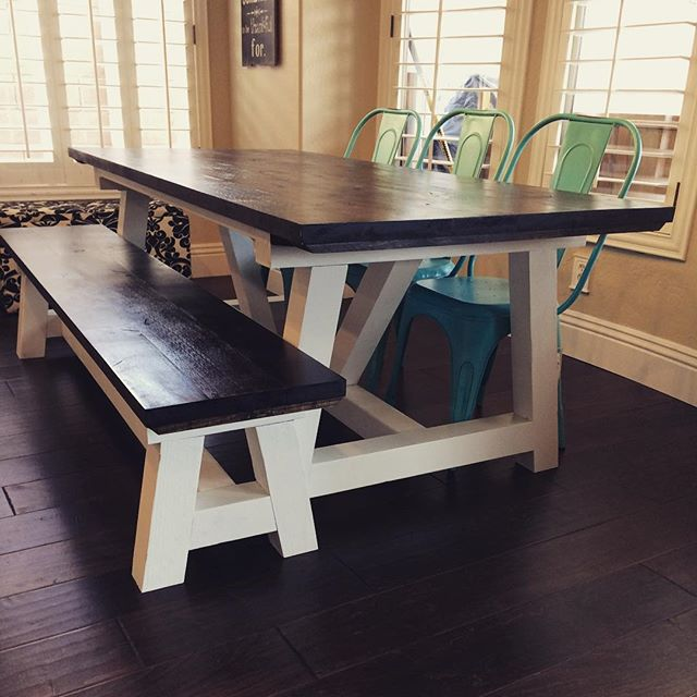 Our Truss Farmhouse Table-Dark Walnut top-Painted White bottom