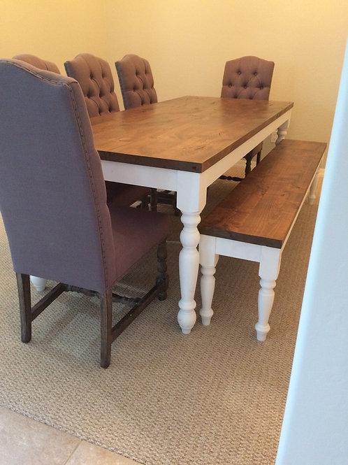 Turned Leg Farmhouse Table