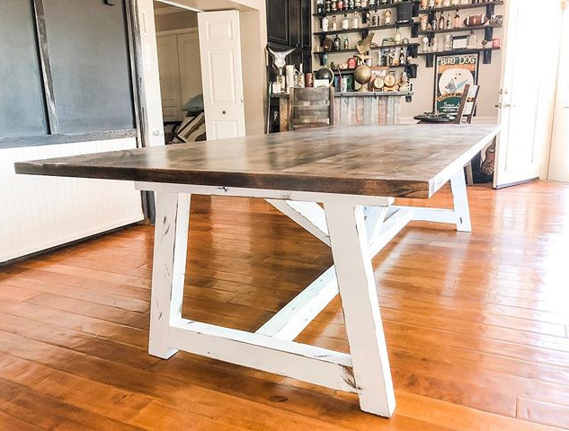 Our Truss Table with Dark Walnut top + d