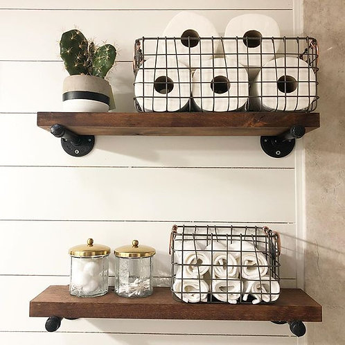 Industrial Galvanized Pipe Shelf //  Rustic Wood Floating Shelves