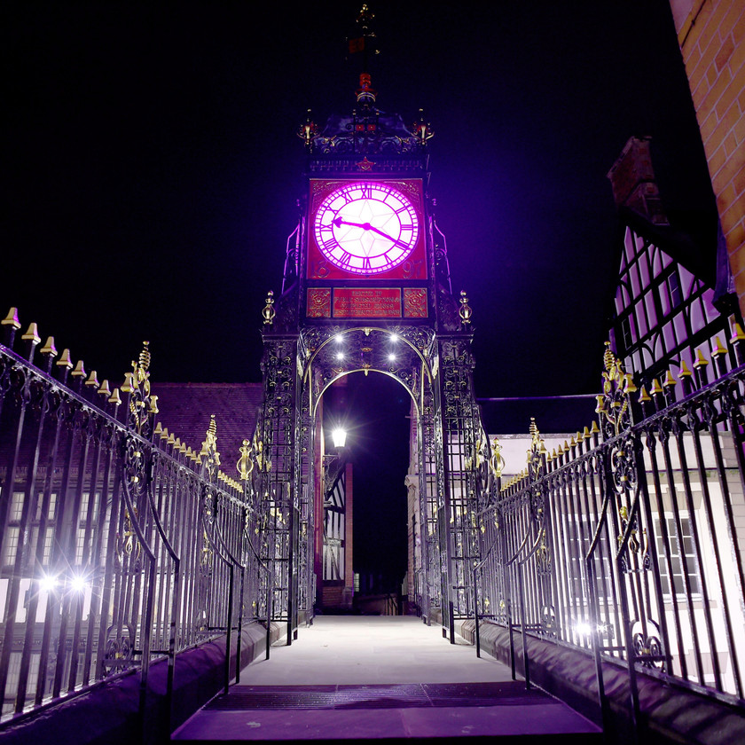 The clock tower lit pink
