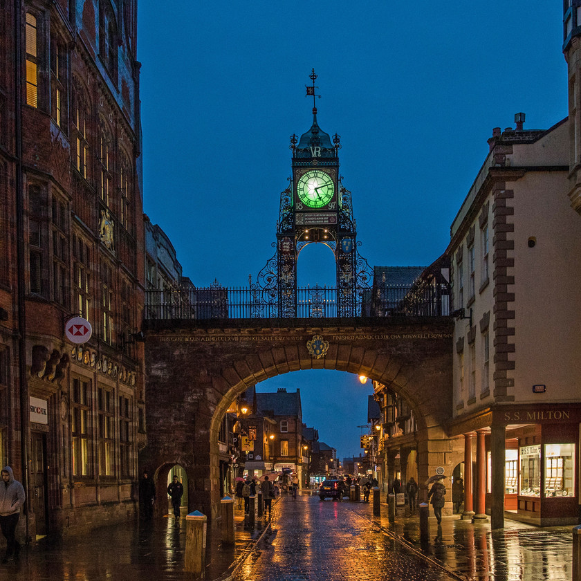 The Eastgate clock lit green