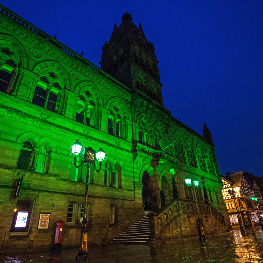 Chester town hall lit green