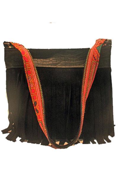 Black Suede Fringe Handbag