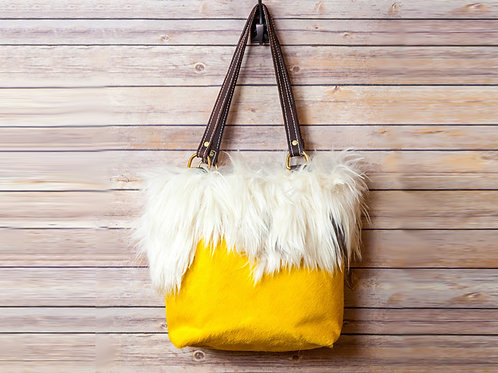 Cowhide with Goat Fur Tote