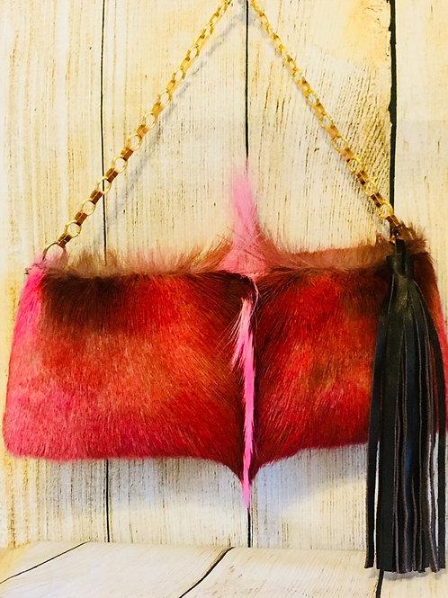 Small pink Springbok Hide Purse