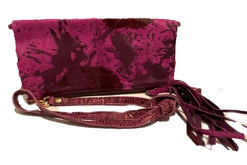 Clutch/ shoulder bag from acid washed magenta leather - CL-4