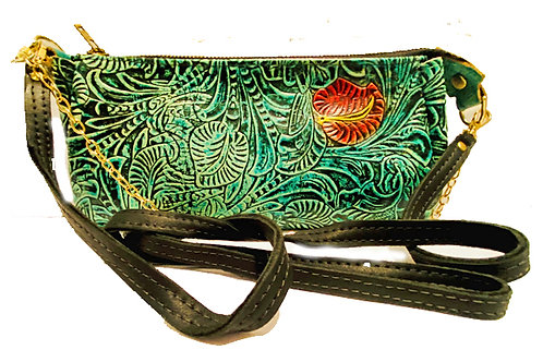 Hand painted embossed leather bag .  L-6