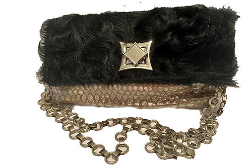 Silver snake with Black cowhide flap- L-7