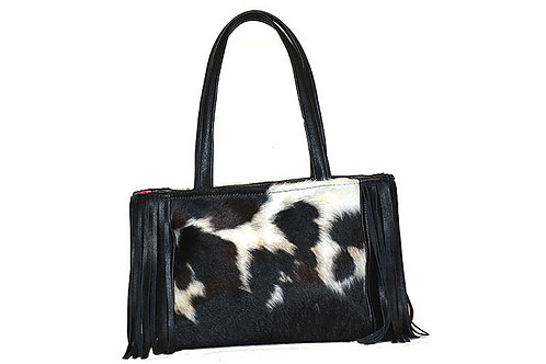 Cowhide Handbag with Side Fringe
