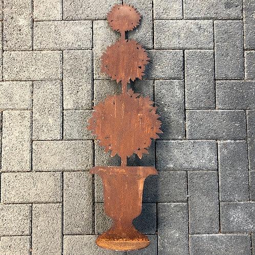 Edelrost - Emphore mit Lorbeerbäumchen auf Platte