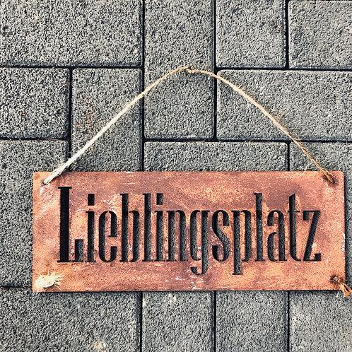 """Edelrost - Hängeschild """"Lieblingsplatz"""""""