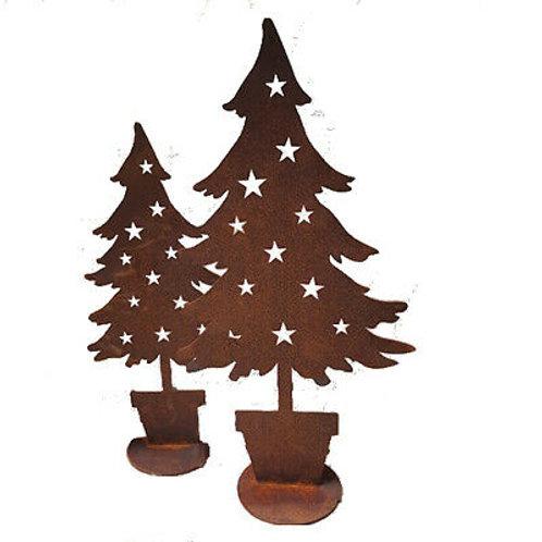 """Edelrost - """"Tanne im Topf"""" Weihnachten stehend groß"""