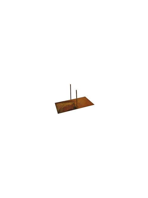 Edelrost - Bodenplatte/Standplatte für Paravent mit 2 Stäben