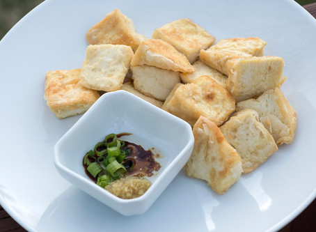 Ginger Garlic Dressing with Fried Tofu