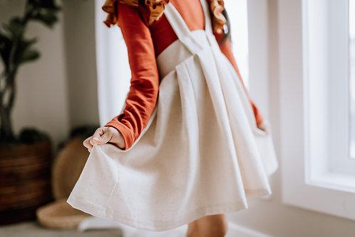 Rosie Suspender Skirt in Oatmeal Fleck