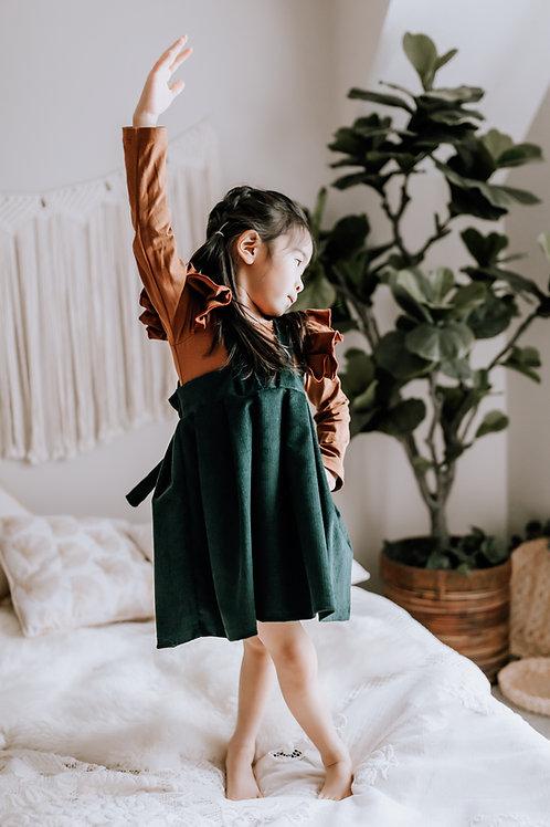 Rosie Suspender Skirt in Emerald