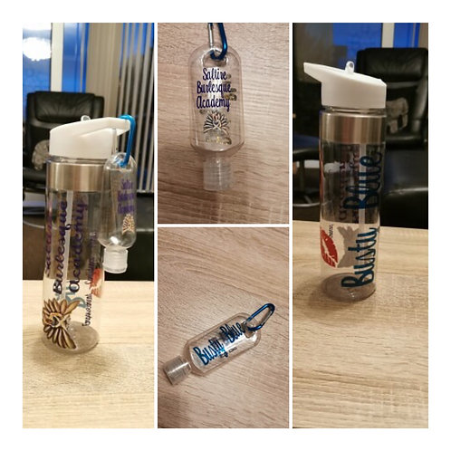 Personalised water bottle and hand sanitizer set