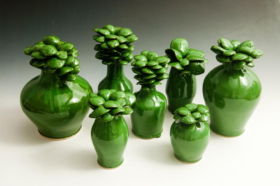 Assorted Green Flower Pots