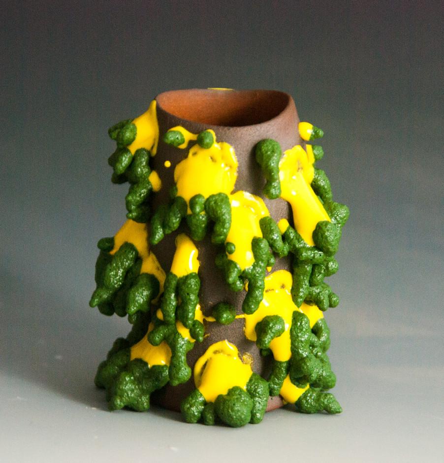 Green, Yellow, & Brown Shot Glass