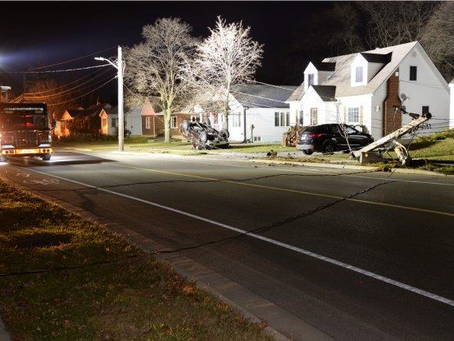 Collision Takes Out Hydro Pole