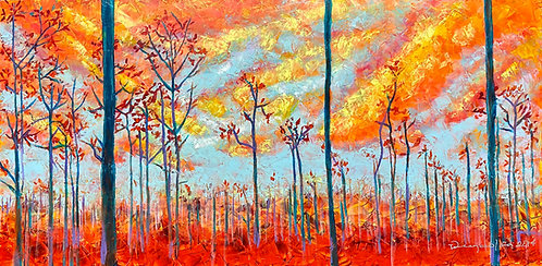 Color-changing chromatic art oil painting Pine Sunrise by Eleazar Delgado Studio Fine Art
