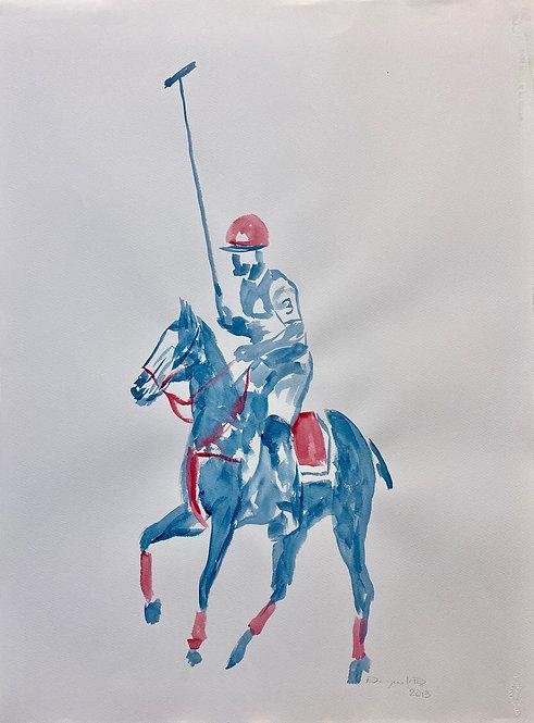 watercolor of Polo Horse F by Eleazar Delgado