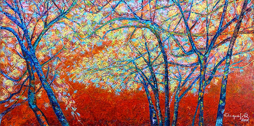 Color-changing chromatic art oil painting Mangrove In The Red Sunset by Eleazar Delgado Studio Fine Art