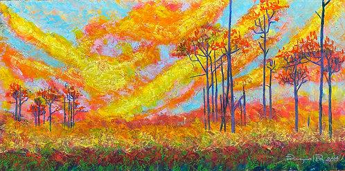 Color-changing chromatic art oil painting Daybreak by Eleazar Delgado Studio Fine Art