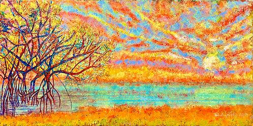 Color-changing chromatic art oil painting Mangrove Sunrise by Eleazar Delgado Studio Fine Art
