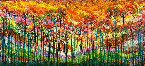 Color-changing chromatic art oil painting Awakenings I by Eleazar Delgado Studio Fine Art