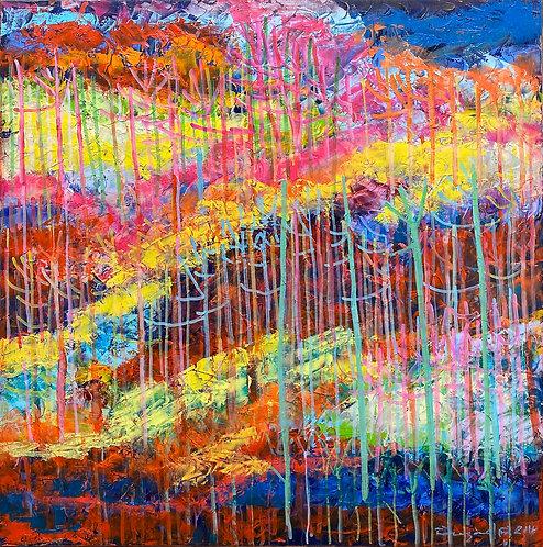 Close-up of color changing chromatic art Untamed-16 I by Eleazar Delgado