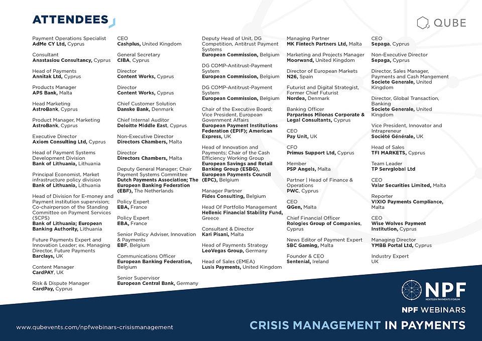 NPF Webinar Crisis Management Attendees.