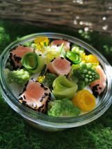 Mi-cuit de saumon aux petits légumes de saison