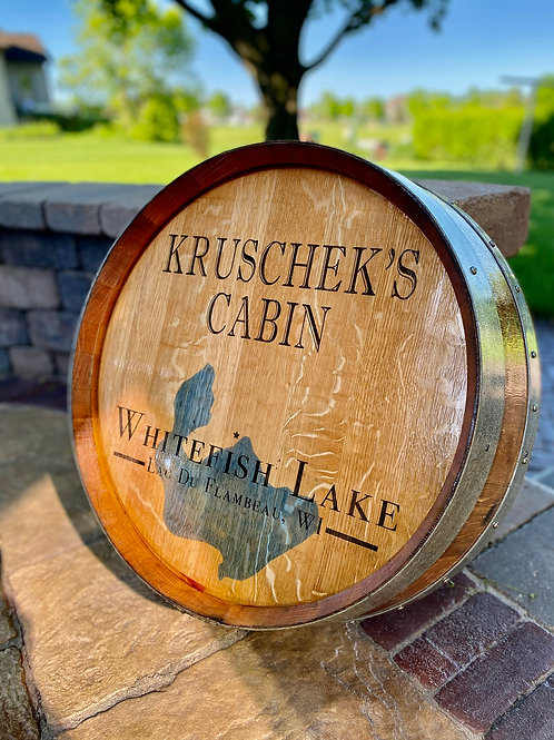 "Custom ""Lake"" Wine Barrel Top"