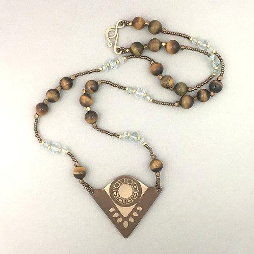Tiger Eye and Aquamarine Necklace