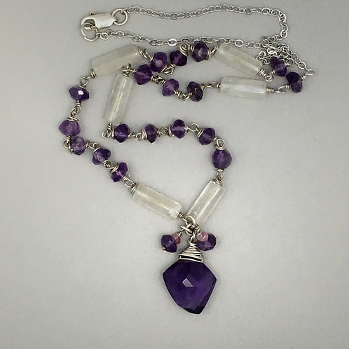 Amethyst Necklace with Chalcedony
