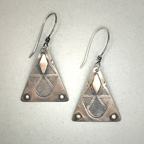 Silver Pyramid Earrings