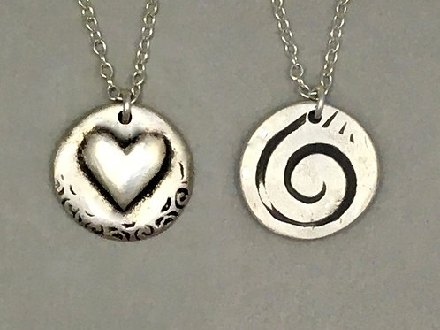 Heart and Spiral Reversible Necklace