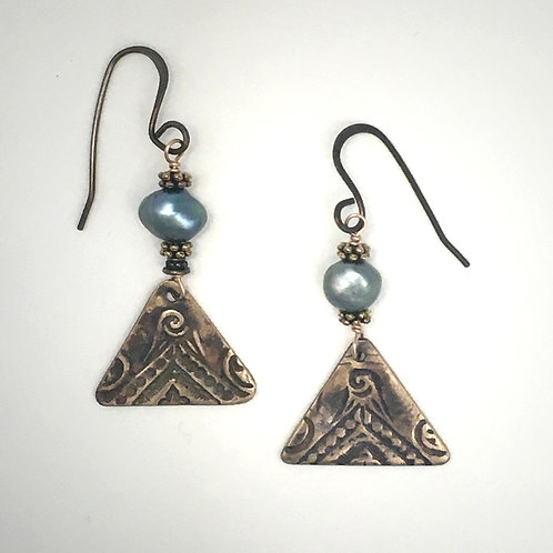 Pearl and Triangle Earrings