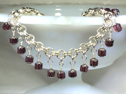 Silver Chainmaille Bracelet with Purple Czech Glass Beads