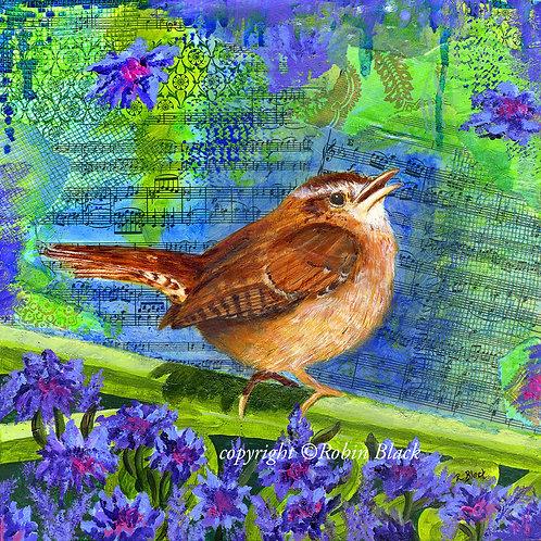 Carolina Wren, Original Mixed Media Painting