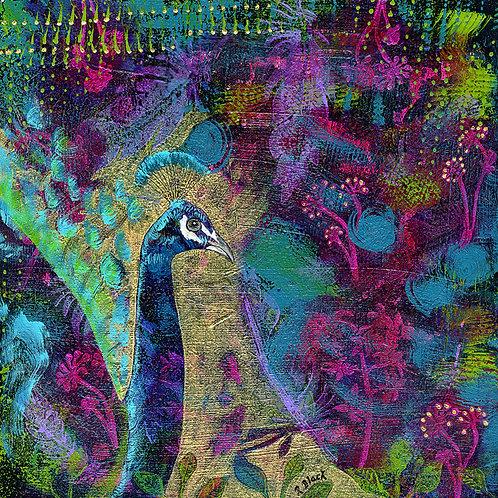 God's Jewels—Peacock original mixed media painting