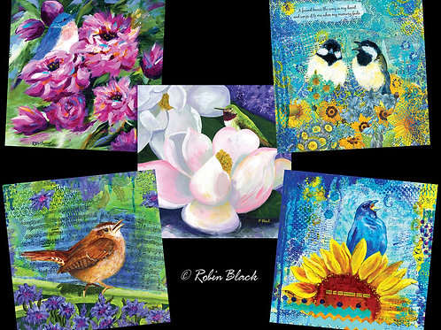 Set of 5 Square Greeting Cards