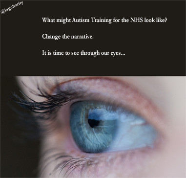 A blue eye with the caption: what might Autism training for the NHS look like?