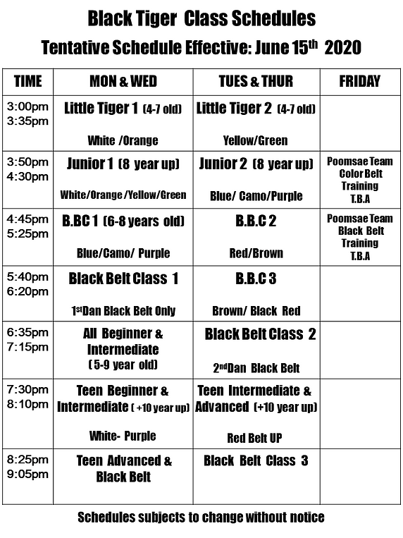 Tentative Schedule Effective June 15th