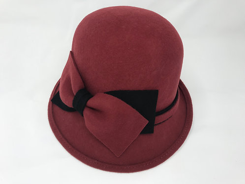Double Bow Felt Cloche